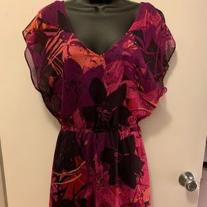 NWOT Express pink purple floral dress w underdress